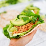 Mexican Slow-Cooked Shredded Chicken Avocado Flat-Bread Wraps