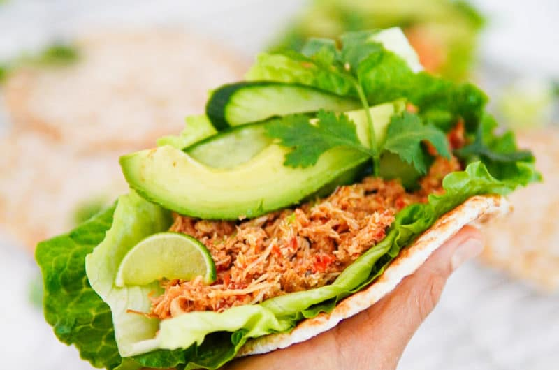 Pulled Chicken Avocado Flat-Bread Wrap