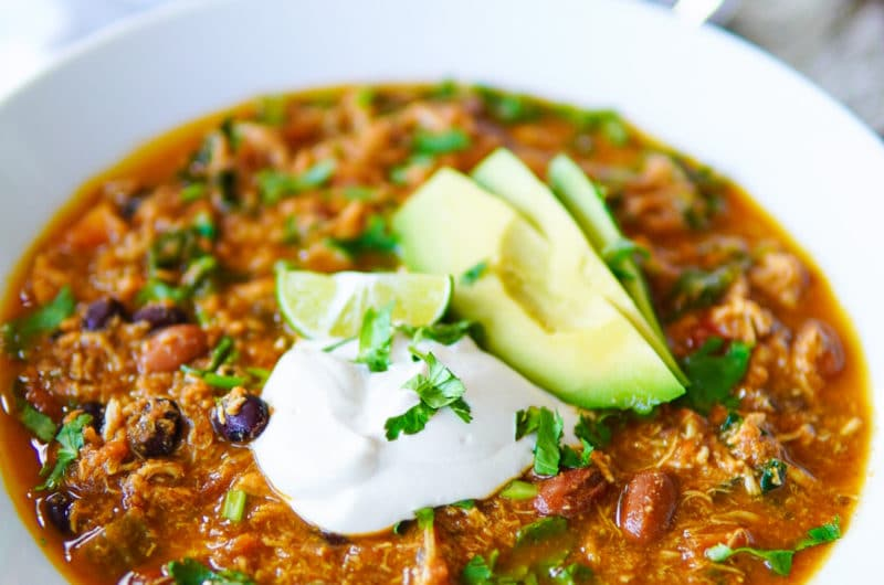Slow-Cooker Pulled Chicken Chili with Cashew Sour Cream