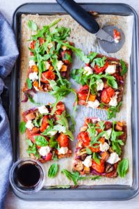 Eggplant Sweet Potato Ricotta Nut Cheese Caulicrust Pizza with Balsamic Reduction