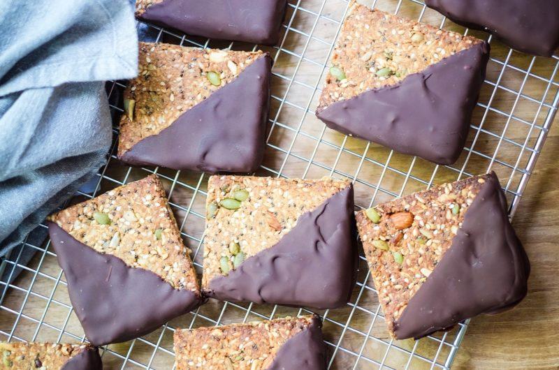 Orange Spiced Chocolate Dipped Grain Free Granola Bars