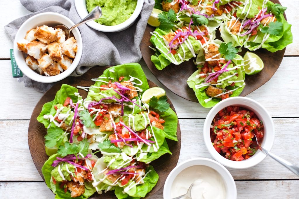 Fish Tacos Wrapped In Butter Lettuce up close
