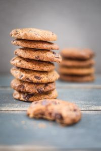 Grain Free Chocolate Chunk Cookies stacked