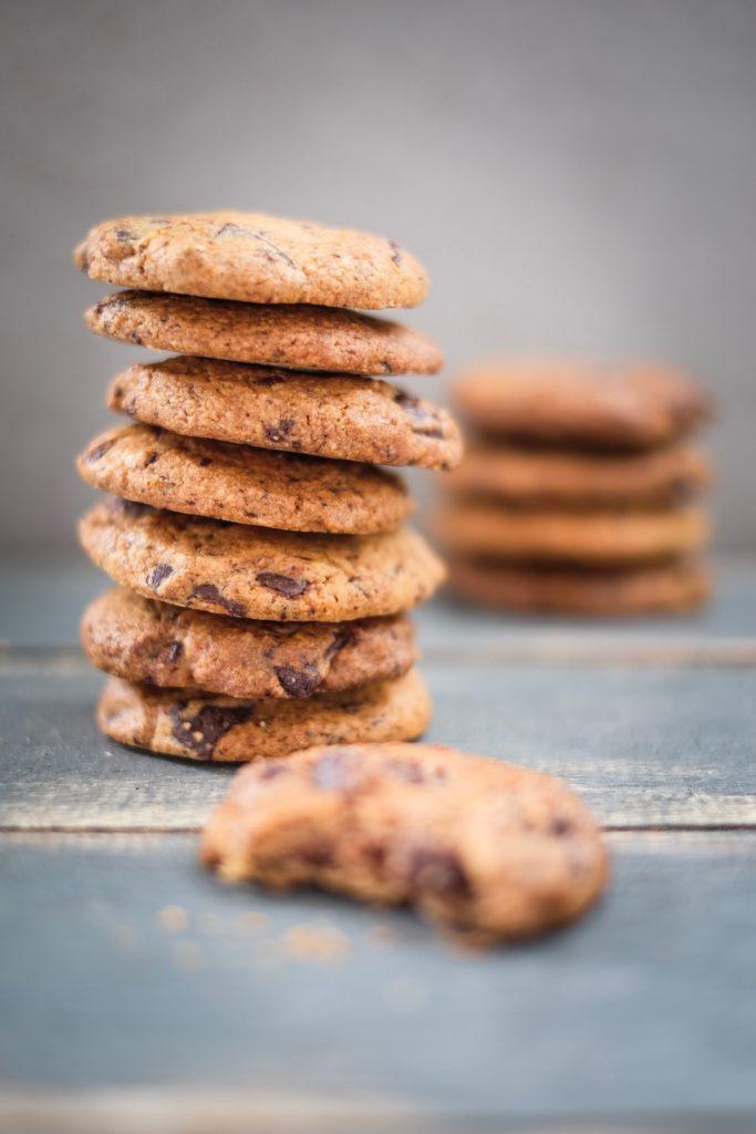 Grain Free Chocolate Chunk Cookies stacked