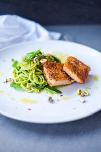 Baked Salmon with Pesto Zoodles & Pistachios