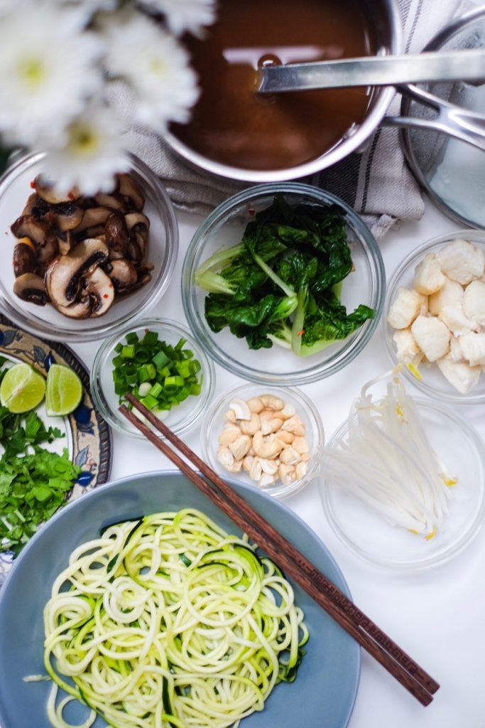 Vietnamese Veggie Zoodle Fish Pho ingredients