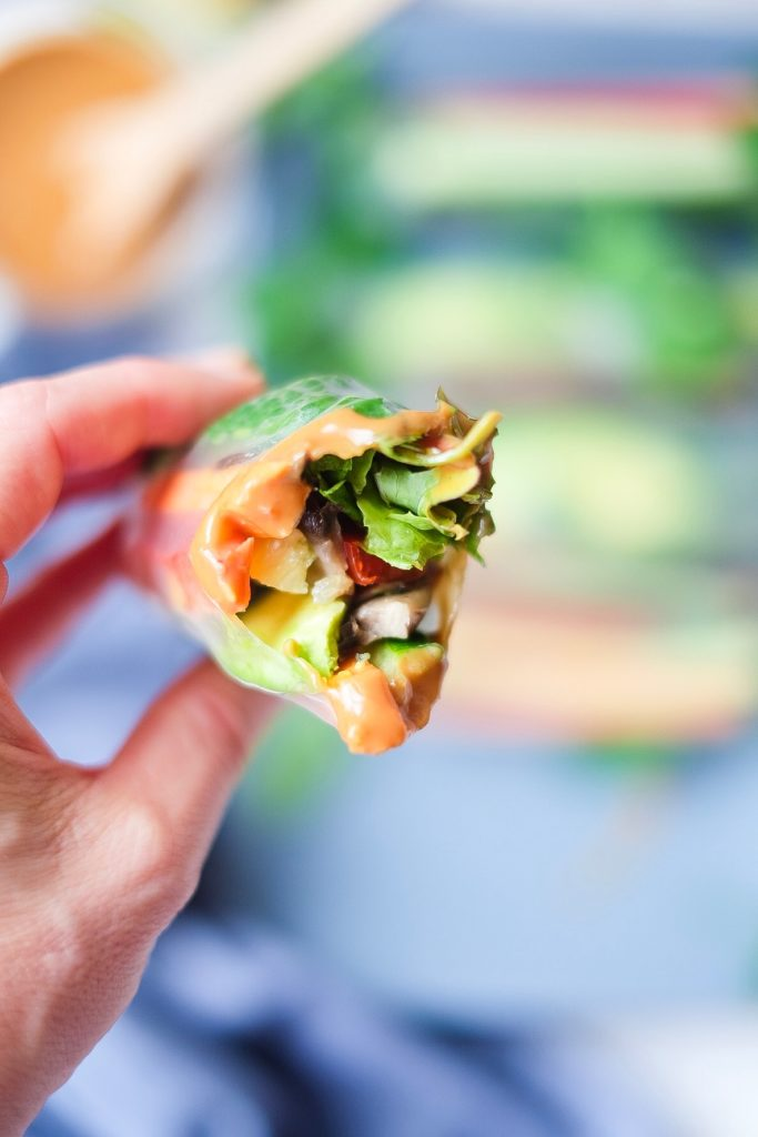 Indo Rainbow Summer Rolls are ready to eat