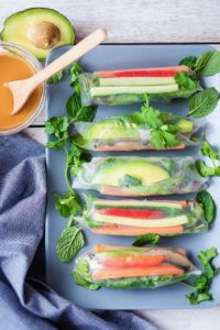 Indo Rainbow Summer Rolls plated