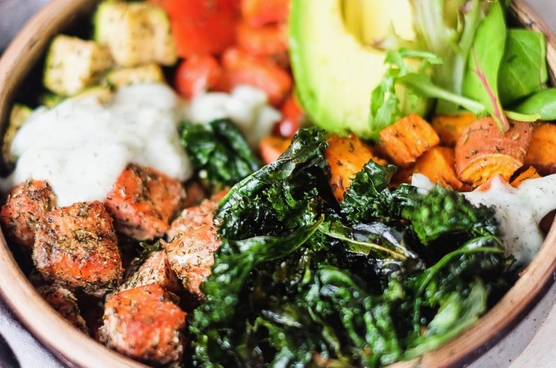 Greek Salmon Crunchy Kale Veggie Bowl with Tzaziki