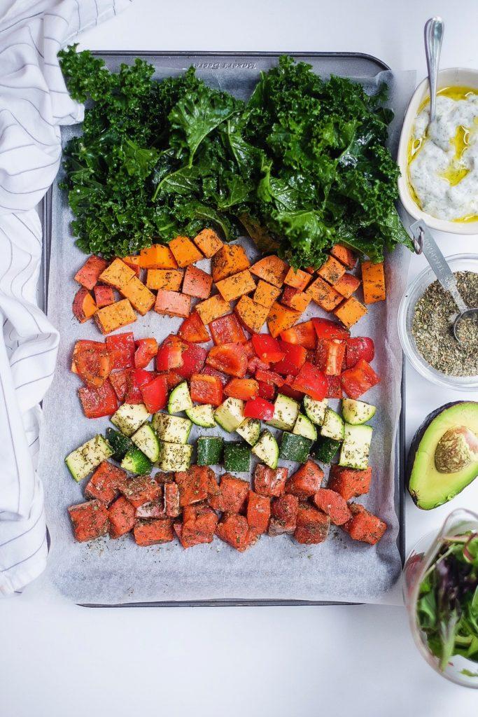 Greek Salmon Crunchy Kale Veggie Bowl with Tzaziki chopped ingredients