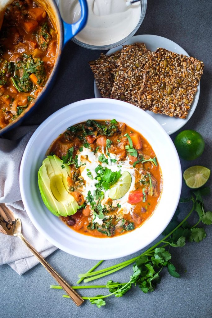 Smokey Veggie Chili with Cashew Sour Cream and Everything Seed Crackers
