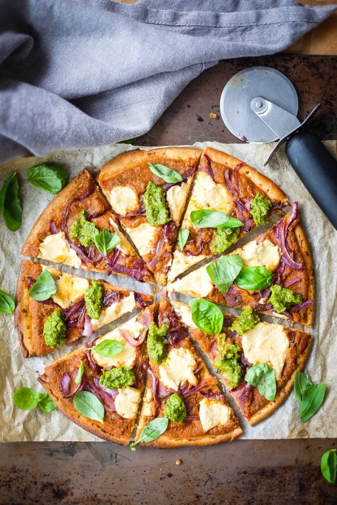Pesto Ricotta Nut Cheese Pizza