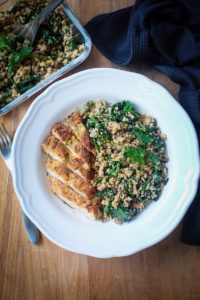 Rosemary Thyme Chicken Schnitzel with Kale Cauli-Rice