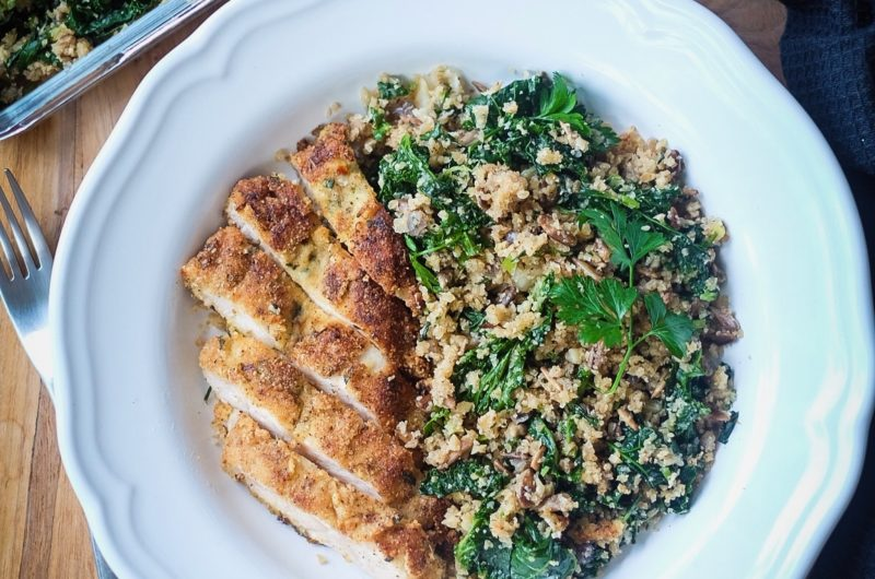 Rosemary Thyme Chicken Schnitzel with Kale Cauli-Rice