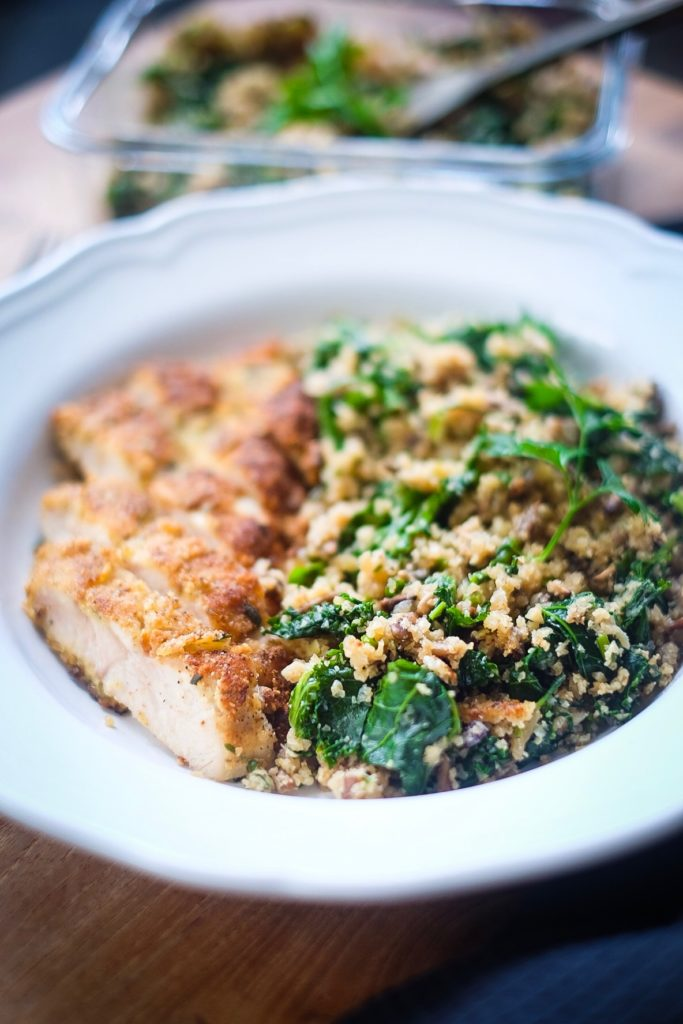 Rosemary Thyme Chicken Schnitzel with Kale Cauli-Rice up close