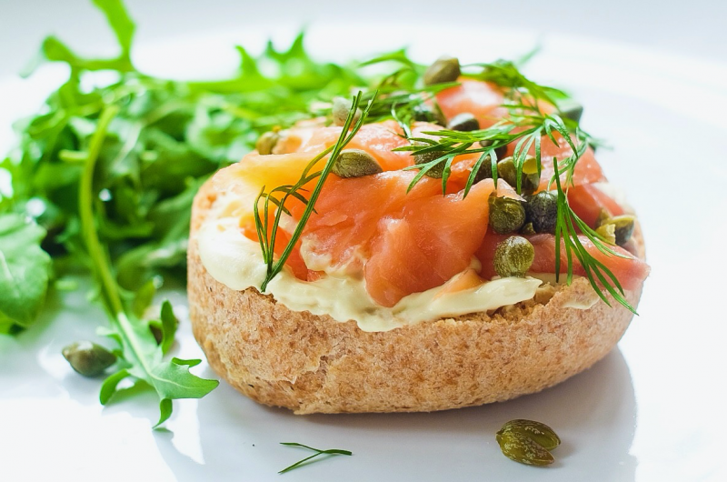 Smoked Salmon Capers Cream Cheese 'Bagel'