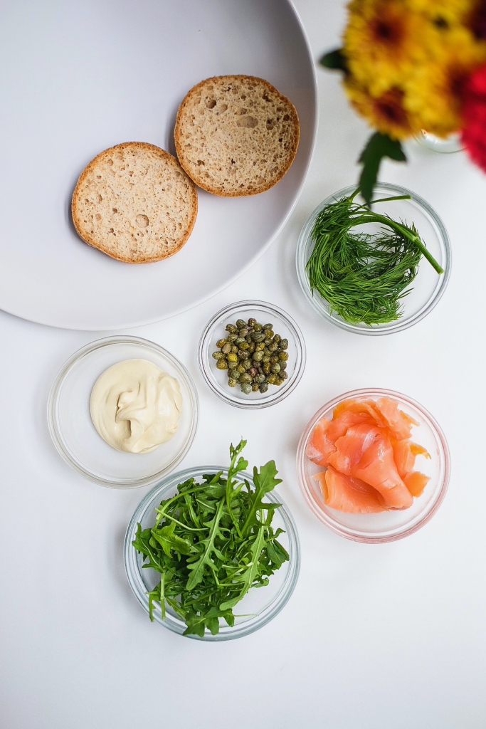 Smoked Salmon Capers Cream Cheese Bagel ingredients