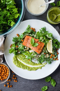 Baked Salmon with Pumpkin Seed Pesto, Creamy Kale Salad & Chickpea Croutons