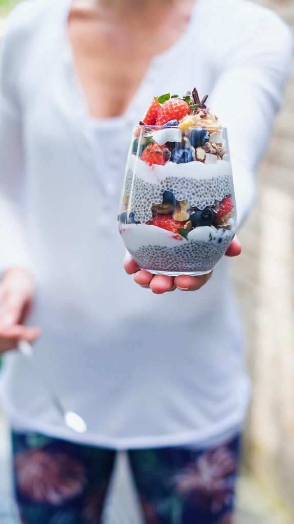 Coconut Yoghurt Chia Pudding Nutty Berry Parfait in a bowl