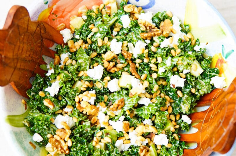 Kale Toasted Pine Nut Walnut Goat Cheese Salad. Creamy Mustard Dressing.